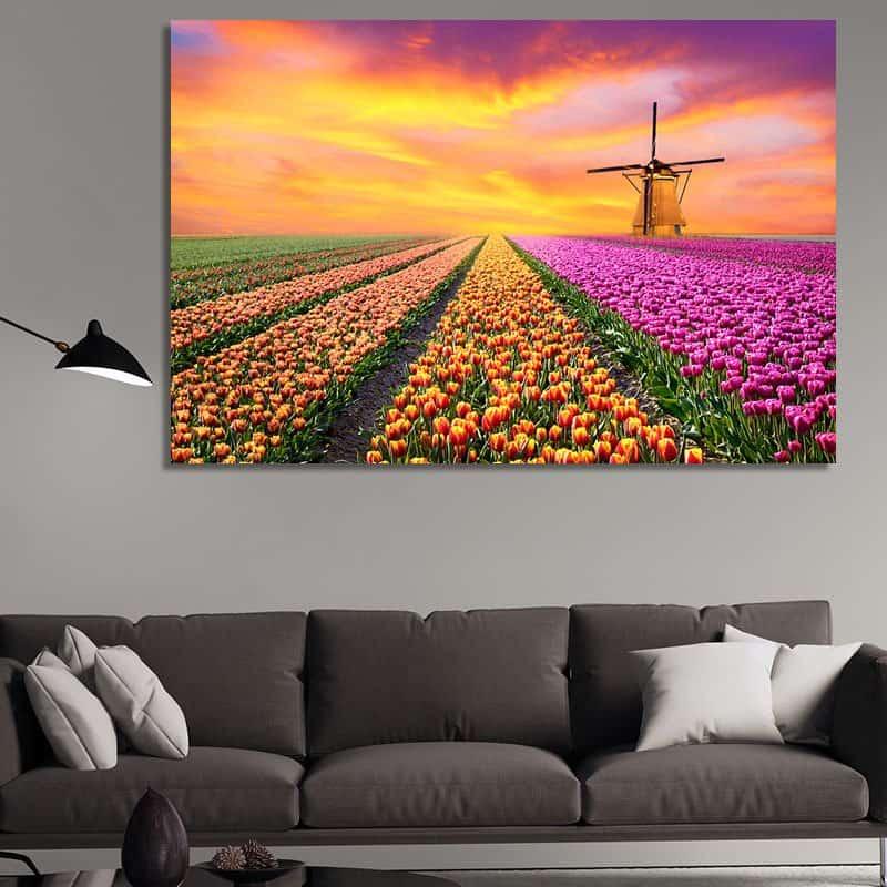 Пролетен пейзаж с мелница - картина
